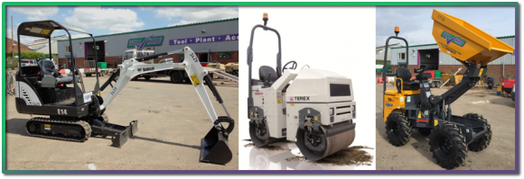 MIni digger, small roller and mini dumper truck at WillHire