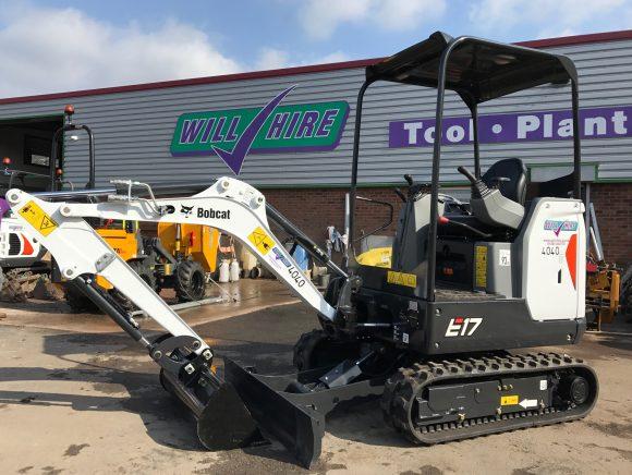 Diesel mini digger excavator 1.5ton bobcat E17 machine Will Hire Limited plant tool access hire Stourbridge Dudley Wolverhampton Birmingham Halesowen West Bromwich Bromsgrove Kiddermnster