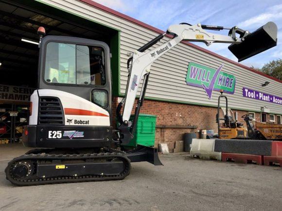 Bobcat E25 3ton 2.5ton mini digger Will Hire Limited plant tool access hire Stourbridge Dudley Wolverhampton Birmingham Halesowen West Bromwich Bromsgrove Kiddermnster