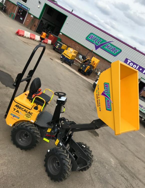 Diesel site dumper 1ton high lift Will Hire Limited plant tool access hire Stourbridge Dudley Wolverhampton Birmingham Halesowen West Bromwich Bromsgrove Kiddermnster